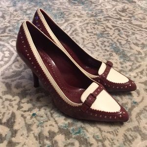 Tory Burch Darleen pumps. Ivory and cabernet.